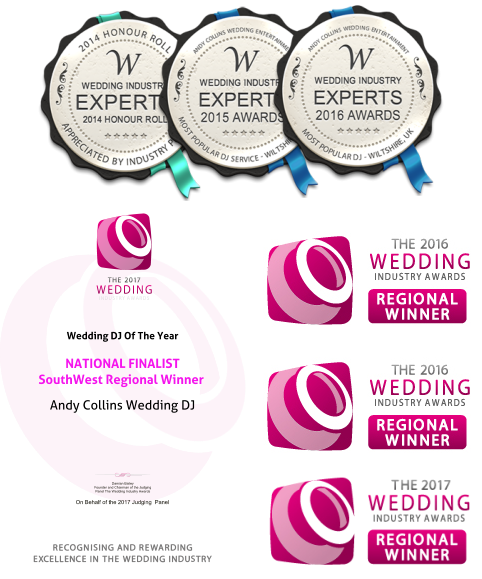 On Behalf of the 2017 Judging  Panel Damian Bailey Founder and Chairman of the Judging Panel The Wedding Industry Awards Wedding DJ Of The Year   NATIONAL FINALIST South West Regional Winner Andy Collins Wedding DJ