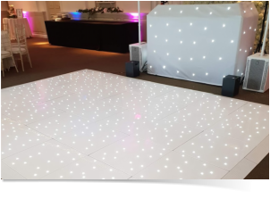 whire twinkling dance floor hire